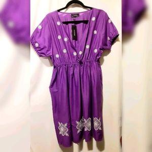 Purple Cotton Dress with White Detail - XL